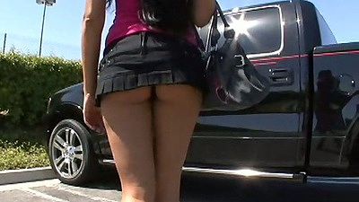 Mini skirt Haily Star outdoors flashing her panties