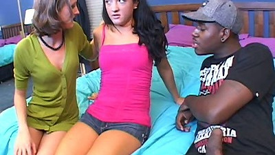Interracial girls Deena Daniels & Hailey Young blowjob in interracial video