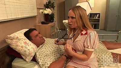 Horny doctor nurse Aiden Starr sucking off patients big dick