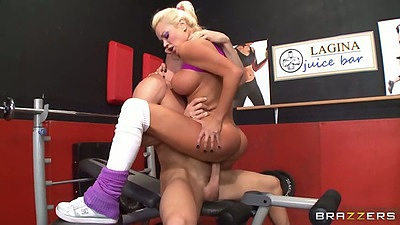 Cowgirl gym sex with milf busty Nikita Von James