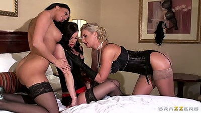 Group lingerie lesbian women Kendra Lust and Phoenix Marie with Rachel Starr