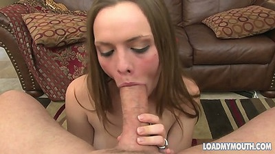 Monica Rise sucking and licking balls after her mouth is loaded
