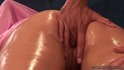 Ass fingering oily massage for Katie Summers