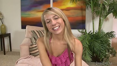 Blonde cute and petite teen Kiara Knight undressing to do fellatio