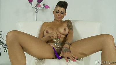 Cameron Bay sex toy big tits solo fucking giant dildo