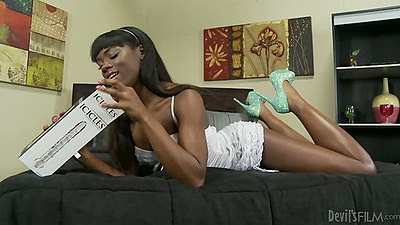 Ebony Ana Foxxx taking out her new sex toy