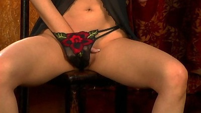 Sydney Moon reaching down her panties for fingering