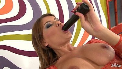 Sucking dildo and pussy insertion of sex toys with Jasmine Rouge