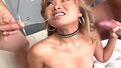 Asian cum loving slut Lana Croft deep throat gang bang