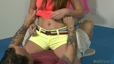 Nice tight shorts on brunette Cali Hayes as she undresses