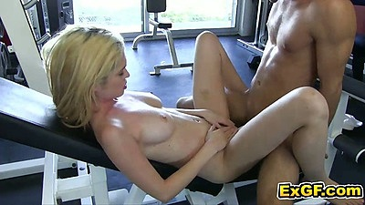 Teen Tiffany F. gets her amateur young pussy fucked on gym machine