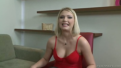 Blonde Lucy Heart and Nina Clark lesbian chicks in lingerie outfits