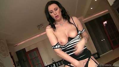 Undressing natural tits Lara Latex solo on the table milf