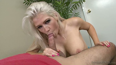 Big tits blonde Nikki Phoenix blowjob with a deep throat pov