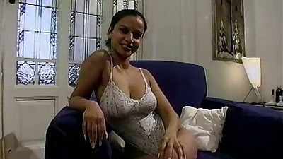 Lingerie solo Sue pulling panties aside for masturbation