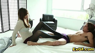 Amateur Holly M. cfnm footjob and blowjob