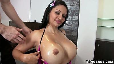 Big tits oiled up latina Cielo