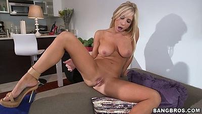 Fingering her own pussy blonde porn star Tasha Reign loves it