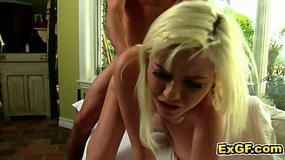 Gf blonde Chloe F doggy style fucked with a close up moan