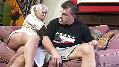 Mature blonde whore with puffy nips Dana Hayes sucks dick and titty fuck