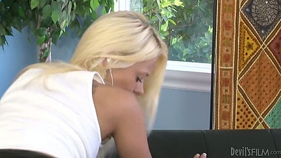 Blonde teen fully clothed in tight shorts Rebecca Blue