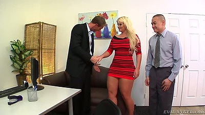 Blonde Julie Cash in the office with two men