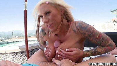 Titty fuck with busty Lolly Ink  outdoors
