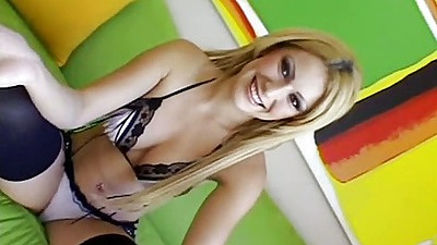 First sex video with blonde Alexia on the casting couch