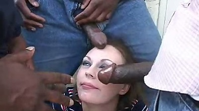 Group interracial blowjob gang bang with Juliann More filled with dick and cum