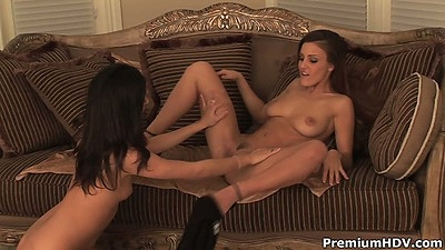 Fingering trimmed pussy hole on lesbians Andie Valentino and Elena Rivera