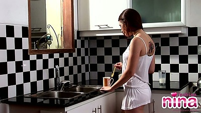 Brunette maid private slave in the kitchen