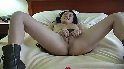 Natural tits girl plays with her pussy and deep throat