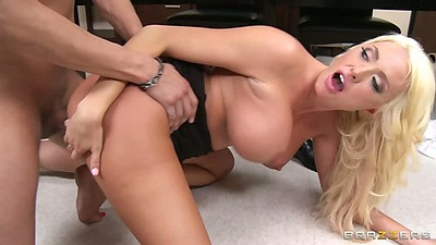 Big and maybe huge tits fuck on office desk with Summer Brielle