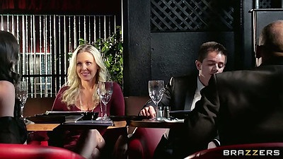 Blonde milf classy and clothed having a drink with smoke Veronica Avluv and Julia Ann