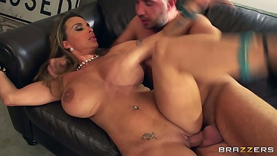 Sideways huge tits milf with naval piercing fuck and tattoo on her pussy with Holly Halston