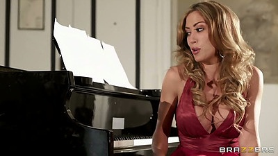 Solo babe Capri Cavanni grooly wet pulled aside pussy masturbation by piano