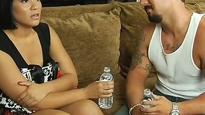 Brunette Rosario Stone fully clothed and penis sucking