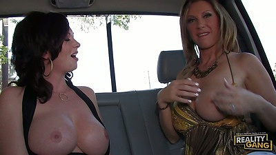Backseat milfs Devon Lee and Felony Foreplay eating wet pussy juicy