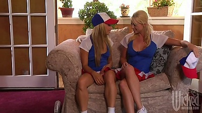 Shawna Lenee and Franziska Facella with Lindsey Meadows lesbian cheerleaders in uniform making out