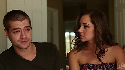 Babe Remy Lacroix kissing dude in bed