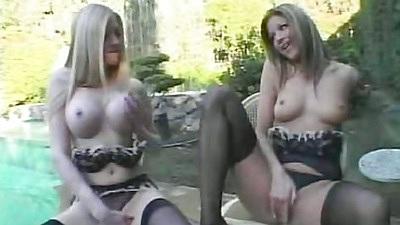 Big tits lesbian bombshell girls grou pfuck with men
