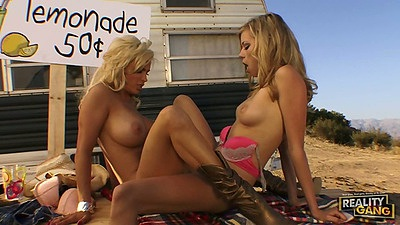 Lesbian fucking dildo and each other with milf blondes Nicole Ray and Diamond Foxxx outdoors