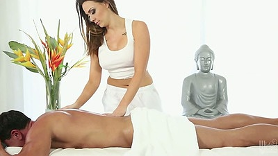 Oil massage with Chanel Preston doing the leg work