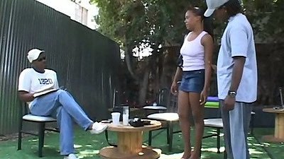 Ebony Vanilla not wearing panties under her skirt and blowjob outdoors