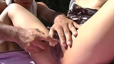 Fingering hairy asian girl upskirt outdoors by the pool