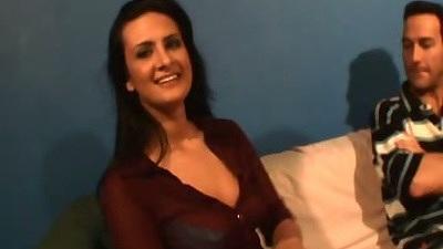 Fully clothed Ava Ramon  slowly stripps fo rman