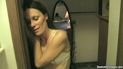 Brunette pov blowjob in her cute little bra with Monica and Jason