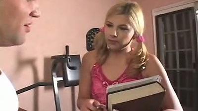 Blonde girl studies and then sucks mans dick