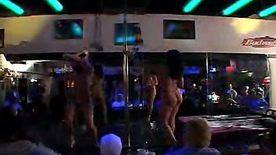 Public stripper party at the club with carpet munching bitches