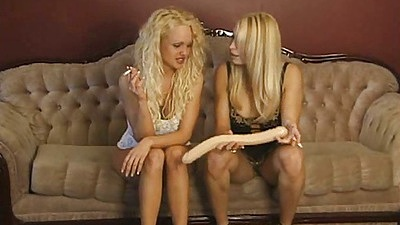 Blonde lesbian in lingerie smoking and making out